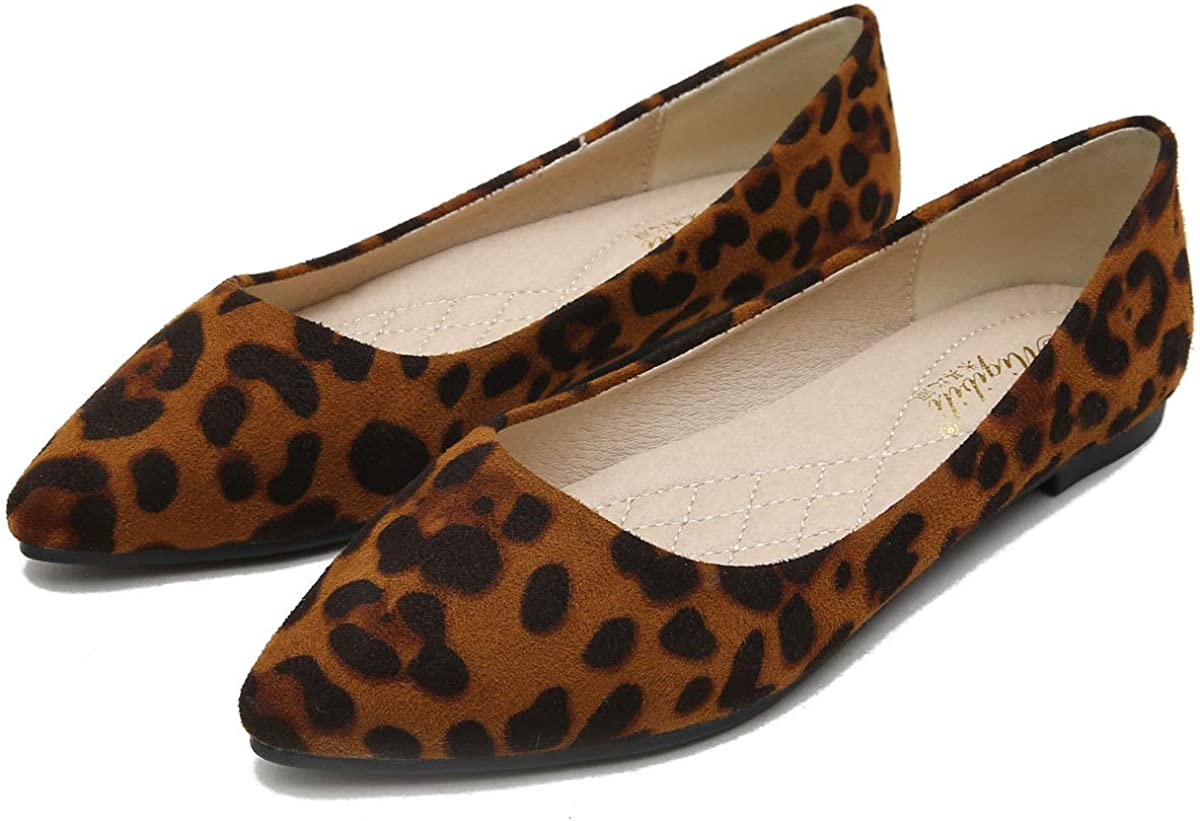 SAILING LU Reservation Womens Pointy Toe Flat Ballet Max 72% OFF Suede Shoes Leopa Flats