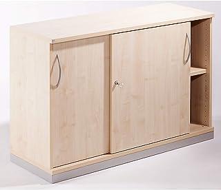 THEA Armoire à portes coulissantes - 1 tablette, 2 hauteurs de classeurs - façon érable - armoire armoire de bureau armoir...