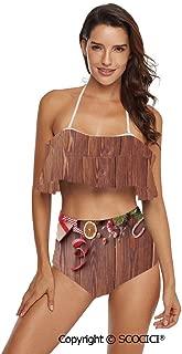SCOCICI Bikini Swimsuit Rustic Wooden Planks with Seasonal Items New Year Celeb
