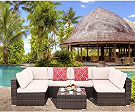 Polar Aurora 7 Pieces Outdoor Patio Sofa Set PE Rattan Wicker Sectional Furniture Outside Couch w/Washable Seat Cushions & Modern Glass Coffee Table