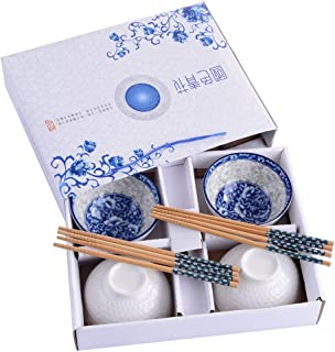 Chinese Bowls and Chopsticks Set of 4 for Rice Soup, Ceramic Rice Bowls, Blue and White Porcelain Cereal Bowls with Delicate Box As a Gift
