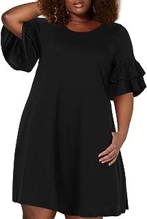 Women's Ruffle Sleeve Jersey Knit Plus Size Casual Swing Dress with Pocket