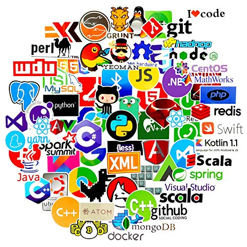 COMKI Programming Stickers(72pcs Pack No-duplicate),Vinyls Graffiti Stickers of IT Logo and Geek Coder Languages Series Logo, Developer Programmer Decoration,Open Sources Linux Mysql PHP Python C++ C#