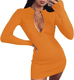 Abito da Donna Vestito da Cocktail Slim Aderente a Maniche Lunghe Girocollo con Zipper Casual Sexy alla Moda