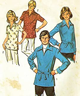 Simplicity 6436 Pullover Front Neck Slash Opening , Pointed Collar, Short or Long Cuffed Sleeves Shirts with Belt Vintage Sewing Pattern Check Offers for Size