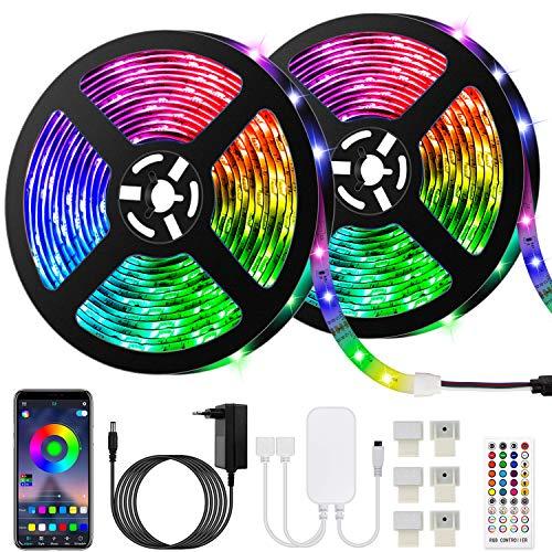 Akapola 10M Bluetooth Striscia LED Musicale 5050 RGB Impermeabile SMD, 300 LED TV Retroilluminazione Strisce, Funzione Musicale, Programma Personale, Controllo App e Telecomando, Flessibile