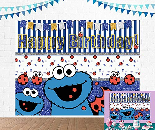Sesame Street Cookie Monster Theme Photography Backdrop For Kids Happy Birthday Party Decoration Photo Background Children Baby Shower Cake Dessert Table Studio Decor Supplies Banner Photo Props 5X3FT