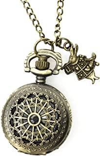 Alice in Wonderland Costume Steampunk Pocket Watch Necklace Women Men Gift