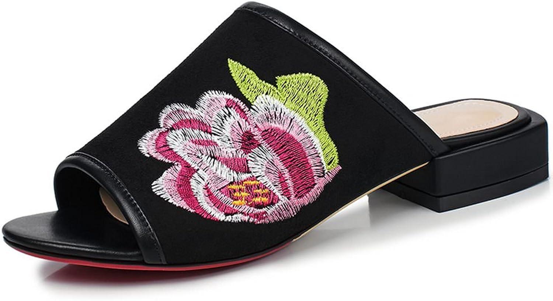DecoStain Women's Embroidery Peep Toe Low Heel Mule