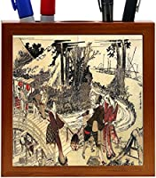 Rikki Knight Katsushika Hokusai Art Village Near a Bridge Design 5-Inch Wooden Tile Pen Holder (RK-PH3276) [並行輸入品]