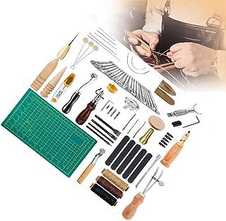 XDXDO 50 Outils À Main pour L'artisanat du Cuir, Kit D'outils De Coupe pour Couture À La Main, Ensembles D'estampage À Déc...
