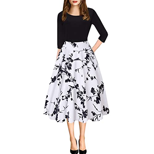 f6f90a1378 Women s Vintage Patchwork Pleated A-Line Swing Casual Party Dress