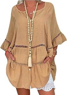WSPLYSPJY Women Blouse Plus Size Button Up 3/4 Sleeve Hollow Out Cotton Linen Shirts