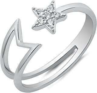 Shooting Star Open Adjustable 925 Sterling Silver with Cubic Zirconia Wraparound Ring Band Sizes 5-10