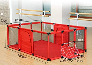 MJY Safety Fence Playpens Red with Ball Net  Safety Large Kids Game Playground  Toddler Indoor Outdoor Play Area  120 amp Times 100 amp Times 62Cm