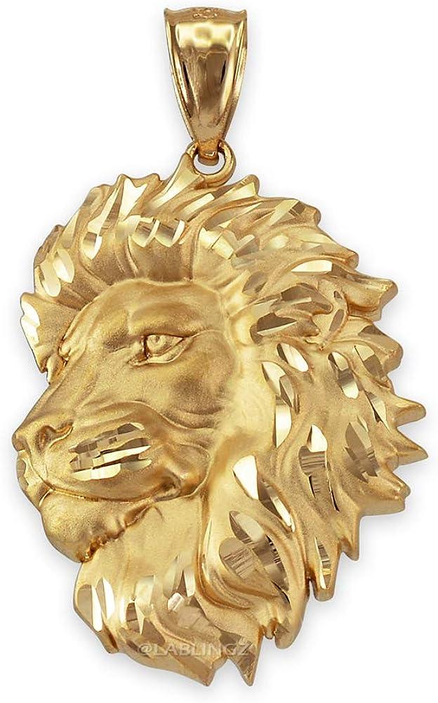 LA BLINGZ 14K Yellow Gold Satin Lion Head DC Leo Pendant (S/L)