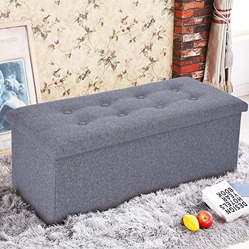 Poteti Folding Storage Ottoman 80L Storage Bench Linen Fabric Storage Change Shoes Sofa Stool for Bedroom and Hallway Support 440 lbs