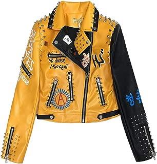 Graffiti Beading Women Pu Leather Jacket Punk Style Motorcyle Embrodiery Leather Jackets,Yellow,XXL