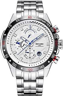 Men's Automatische Mechanische Watch, Fashion Business Watch for Men Stainless Black Steel/Tourbillon/Moon Phase/Waterproof relojes de Hombre