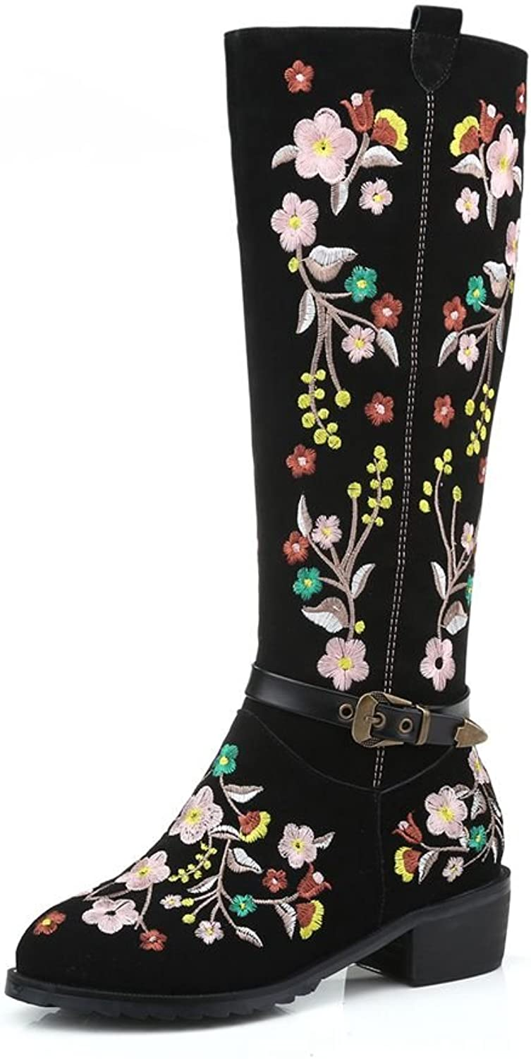 KingRover Women's Sweet Floral Strap Buckle Suede Knee High Boots