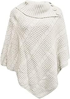 OgLuxe Womens Ladies Cable Knitted 3 Button Poncho Cape Shawl Winter Sweater Size 4-22