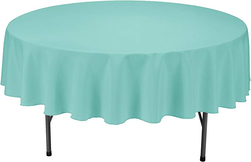 VEEYOO Round Tablecloth 100 Polyester Circular Bridal Shower Table Cloth Solid Soft Dinner Table Cover For Wedding Party Restaurant Turquoise 90 Inch