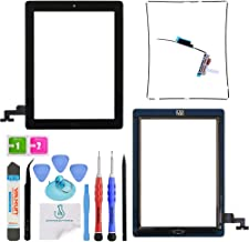 OmniRepairs Touch Screen Digitizer Glass Replacement with Home Button Compatible for iPad 2 Model (A1395, A1396, A1397) with Adhesive Tape, Midframe Bezel, Screen Protector and Repair Tools (Black)