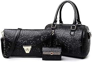 Women's Handbag ,3Pcs Set Shoudlder Bag,Womens Satchel Bag,Classic OL Style Elegant Casual Leather Tote Bag, Set Black