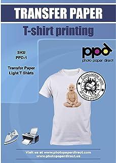 PPD 5 Feuilles x A4 Papier Transfert Tee-Shirt / Textiles Blancs ou Clairs, Fond Transparent, Personnalisable, Thermocolla...