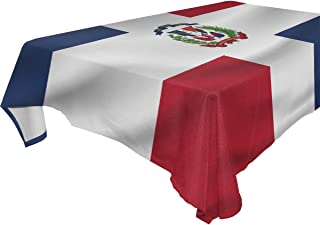 Dominican Republic Flag Polyester Tablecloth Table Cover for Dinner Party Picnic Kitchen Home Decor, Multi