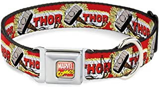 Buckle-Down Seatbelt Buckle Dog Collar - Thor & Hammer Red/Yellow/White