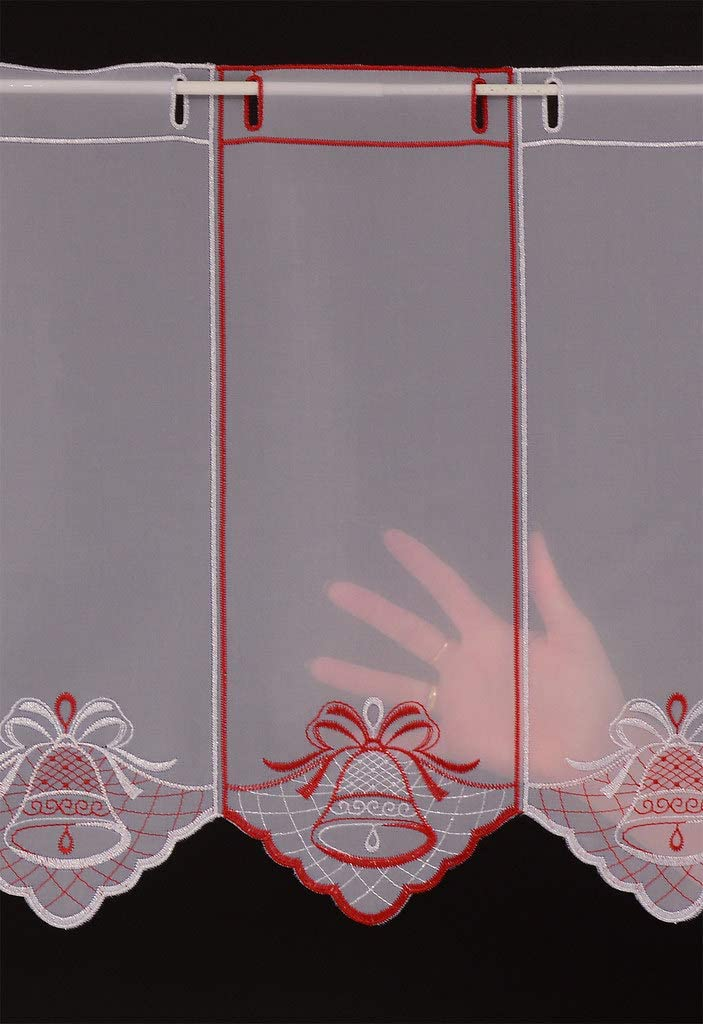 Rideaux cuisine Colour: blanc; argent; rouge Rideaux brise-bise Cloche de No/ël 45 cm de haut Vous pouvez choisir la largeur des rideaux par paliers de 32,5 cm