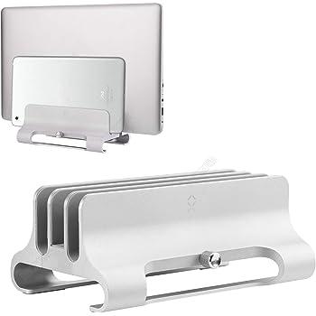 BECROWM ノートパソコン 縦置き スタンド 3台立て macbook用 縦置き スタンド pcスタンド 縦置き 幅調節可 クラムシェルスタンド パソコンスタンド 縦置き アルミ製 pcホルダー(シルバー)