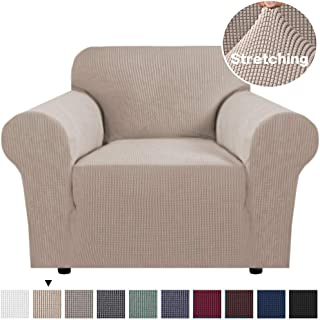 Modern Spandex 1 Piece Sofa Cover with Elastic Bottom Lycra Jacquard High Stretch Sofa Slipcoverfor Kids,Pet Soft Thick Spandex Furniture Cover Stylish Sofa Chair Slip Cover (Chair: 1 Seater, Sand)
