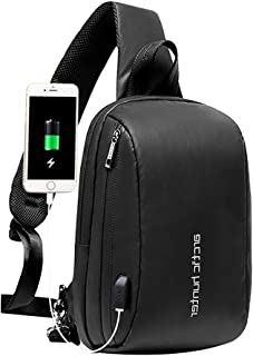 Arctic Hunter Bolso Cruzado Hombre, Bolso Pecho Impermeable con USB, Mochila Cruzada para Ciclismo, Caminar, Viajar y Trab...