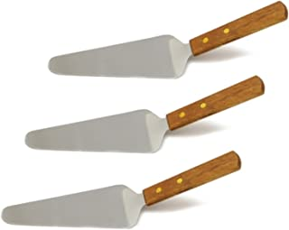 Set of 3, Classic Stainless Steel Blade Pie Server, Wooden Handle, 9-1/2 Inch