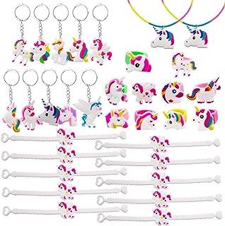 SPECOOL 32PCS Einhorn Party Set Einhorn Armband, Einhorn Ring, Einhorn Halskette, Einhorn Schlüsselanhänger, Einhorn Adventskalender
