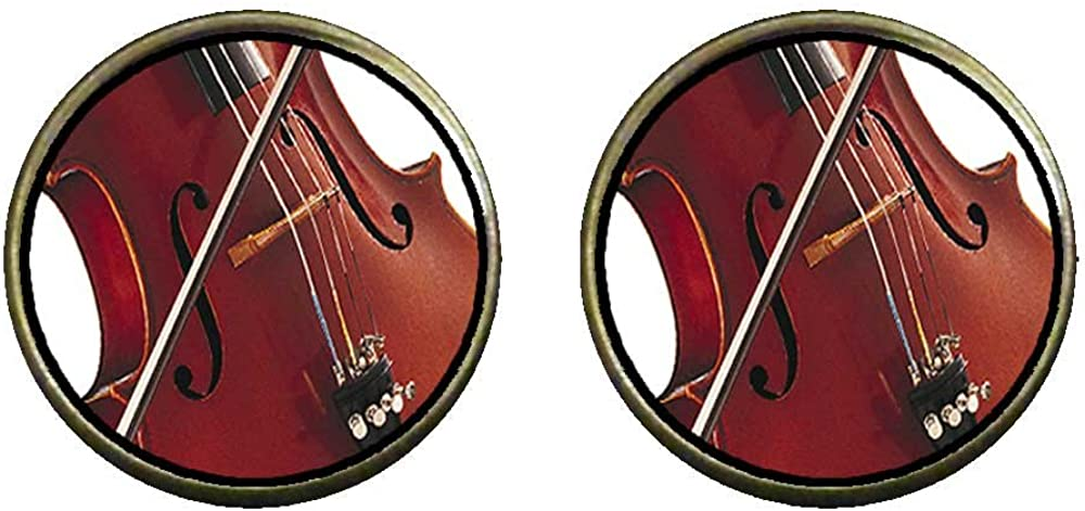 GiftJewelryShop Bronze Retro Style Classical Music Violin Photo Clip On Earrings 14mm Diameter