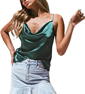 Sexy Womens Solid Color Silky Satin Camisole Tops, Adjustable Casual V Neck Basic Strappy Sling Solid Tank