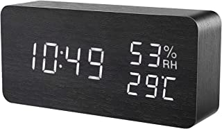 ORIA Digital Alarm Clock, LED Wooden Clock, Wooden Alarm Clock, Voice Control, 3 Brightness Adjustable, 3 Alarm Settings, Temperature and Humidity Dual Power for Home, Office, Bedroom, White