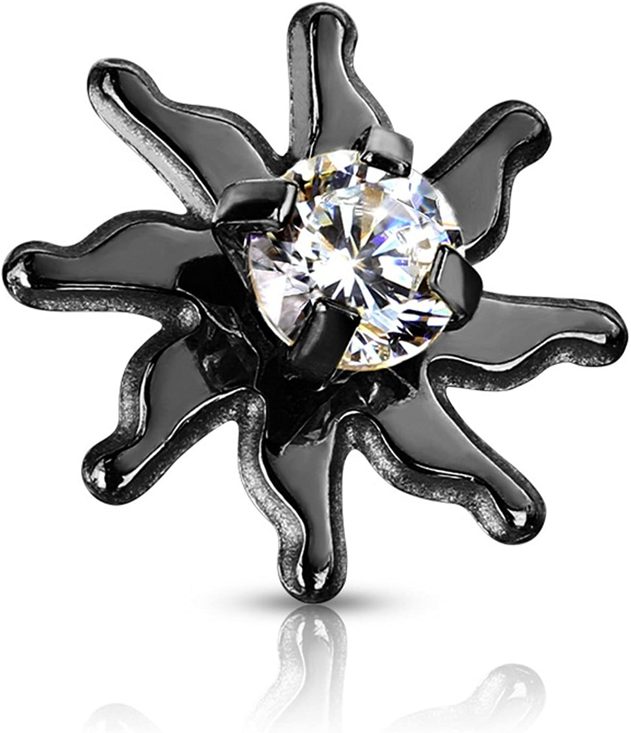 BYB Jewelry CZ Center Tribal Sun Surgical Steel Dermal Anchor Top
