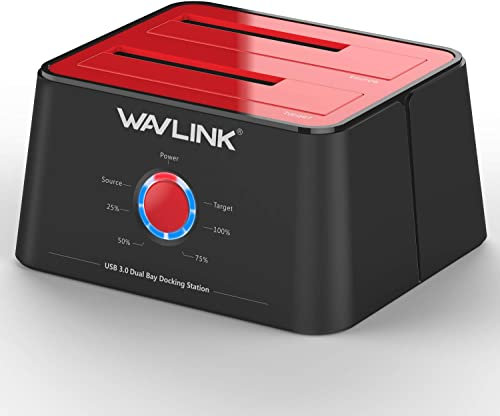 WAVLINK USB 3.0 to SATA (5Gbps) Dual-Bay Hard Drive Docking Station for 2.5 inch/3.5 Inch HDD,SSD Support Offline Clo...