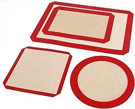 4 tapis de cuisson en silicone - feuilles pour le four non escarticules qualité alimentaire doublure réutilisable cookie a...