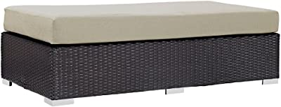 """Outdoor Patio Fabric Rectangle Dimensions: 29""""W x 56.5""""D x 15.5""""H Weight: 43 lbs Espresso Beige"""