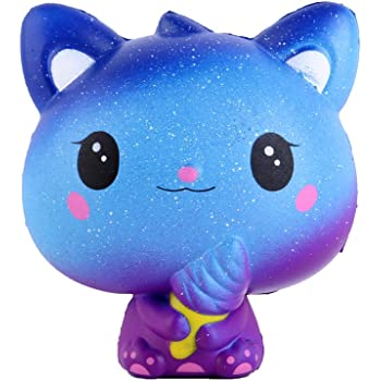 Anboor 3.9 Inches Squishies Cat Galaxy Ice Cream Kawaii Soft Slow Rising Scented Animal Squishies Stress Relief Kid Toys Gift Collection Blue