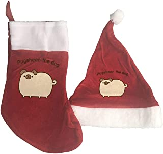 LFBCN Pugsheen The Dog Plush Christmas Stocking and Santa Hat Set Xmas Party Decorations
