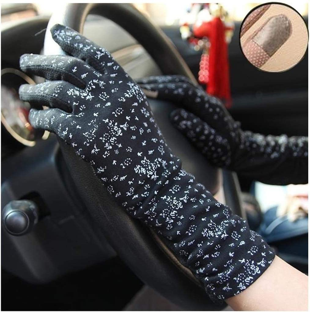 YYOBK SHt Women's Gloves in The Long Style, Cotton Gloves, Thin Style, Touch Screen Driving, Sun Protection Sleeves (Color : 7516beige)