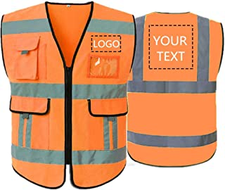 High Visibility Reflective Safety Vest Class 2 ANSI Custom Your Text Protective Workwear 5 Pockets With Reflective Strips Outdoor Work Vest (Orange M)
