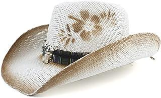 Hui Ni Nuovo Cappello da Cowboy Estivo Cappello di Panama Cappello di Paglia Cava Uomo Donna Cappello Decorativo Stampato ...
