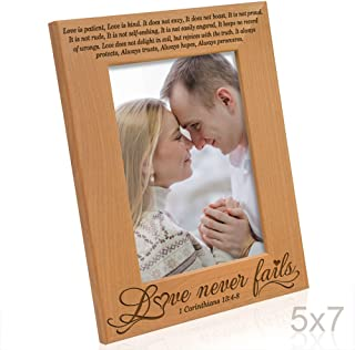 Kate Posh - Love Never Fails - 1 Corinthians 13:4-8 - Wood Picture Frame (5x7-Vertical)
